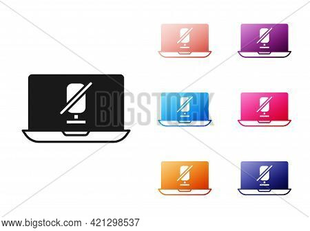 Black Mute Microphone On Laptop Icon Isolated On White Background. Microphone Audio Muted. Set Icons