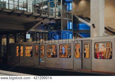 Brussels, Belgium - August 17,2019: Brussels Metro Carriage Train On The Platform Of Schuman Station