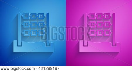 Paper Cut Tic Tac Toe Game Icon Isolated On Blue And Purple Background. Paper Art Style. Vector