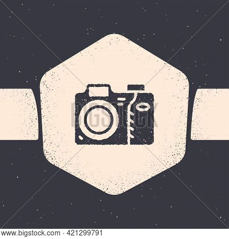 Grunge Photo Camera Icon Isolated On Grey Background. Foto Camera Icon. Monochrome Vintage Drawing.
