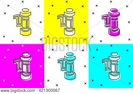 Set Camera Vintage Film Roll Cartridge Icon Isolated On Color Background. 35mm Film Canister. Filmst
