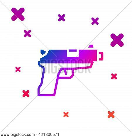 Color Pistol Or Gun Icon Isolated On White Background. Police Or Military Handgun. Small Firearm. Gr
