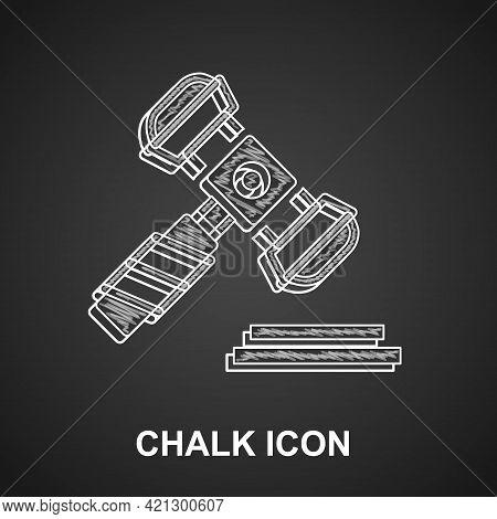 Chalk Judge Gavel Icon Isolated On Black Background. Gavel For Adjudication Of Sentences And Bills,