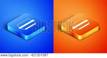 Isometric Butter In A Butter Dish Icon Isolated On Blue And Orange Background. Butter Brick On Plate