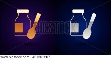 Gold And Silver Drinking Yogurt In Bottle With Spoon Icon Isolated On Black Background. Vector
