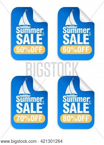Summer Sale Blue Stickers Set With Yacht Icon . Sale Stickers 50%, 60%, 70%, 80% Off. Vector Illustr