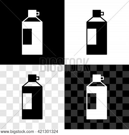 Set Whipped Cream In An Aerosol Can Icon Isolated On Black And White, Transparent Background. Sweet