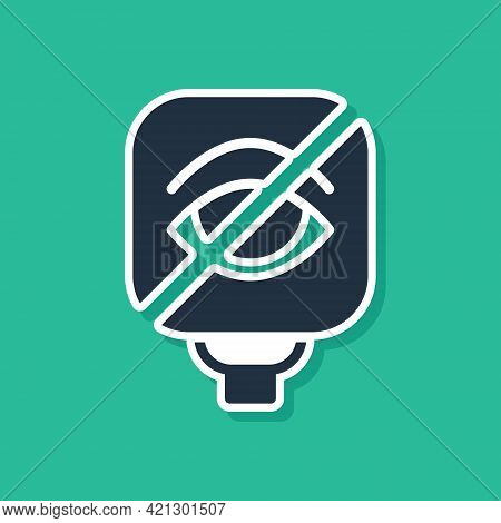 Blue Blindness Icon Isolated On Green Background. Blind Sign. Vector