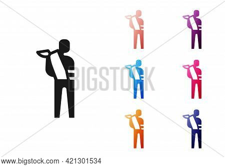 Black Human Broken Arm Icon Isolated On White Background. Injured Man In Bandage. Set Icons Colorful