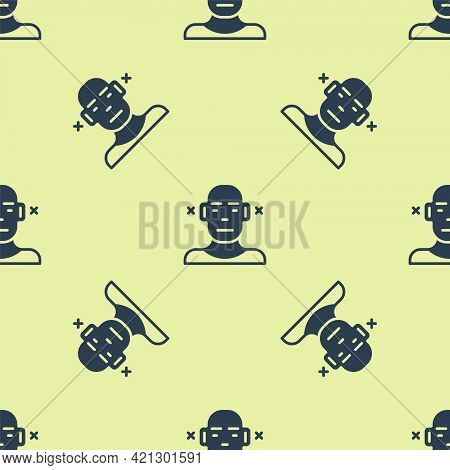 Blue Deafness Icon Isolated Seamless Pattern On Yellow Background. Deaf Symbol. Hearing Impairment.