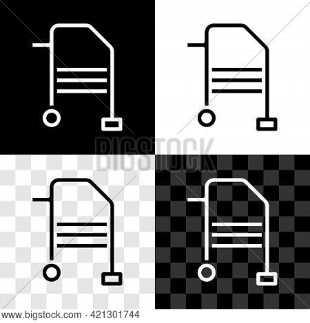 Set Walker For Disabled Person Icon Isolated On Black And White, Transparent Background. Vector