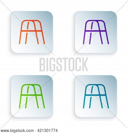 Color Walker For Disabled Person Icon Isolated On White Background. Set Colorful Icons In Square But