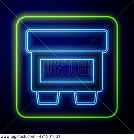 Glowing Neon Fuse Of Electrical Protection Component Icon Isolated On Blue Background. Melting Break