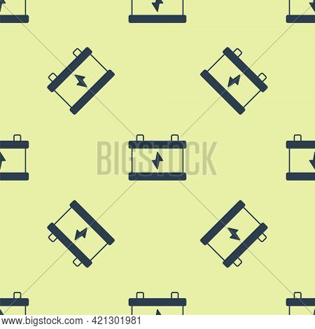 Blue Car Battery Icon Isolated Seamless Pattern On Yellow Background. Accumulator Battery Energy Pow