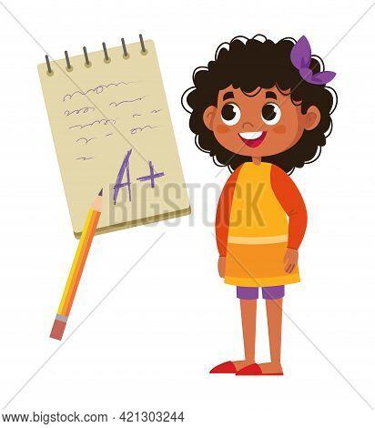 Schoolboy Black Girl Rejoices Good Mark For Exam Lettering On Laptop Vector Flat. The Test Result Is