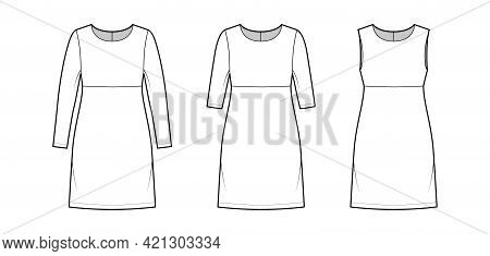 Set Of Dresses Empire Line Technical Fashion Illustration With Long Elbow Sleeves Sleeveless, Oversi