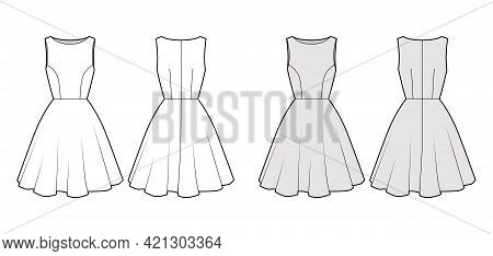 Dress Circular Technical Fashion Illustration With Sleeveless, Oversized Fitted Body, Knee Length Sk