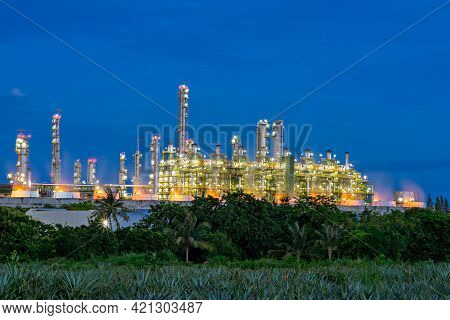 Landscape Of The Oil And Gas Industry. Refinery Factory Petrochemical Plant.