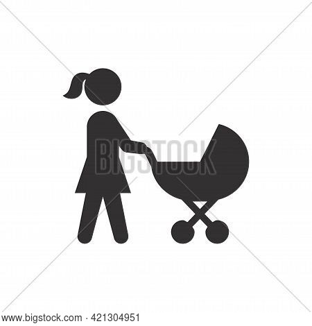 Mother And Baby Stroller Black Vector Icon. Woman Pushing Pram Symbol.