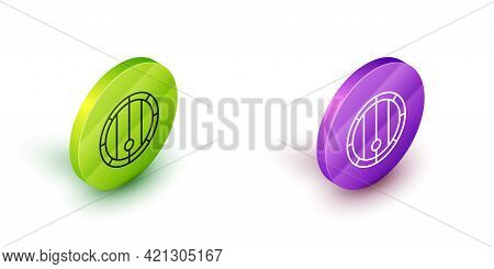 Isometric Line Wooden Barrel Icon Isolated On White Background. Alcohol Barrel, Drink Container, Woo