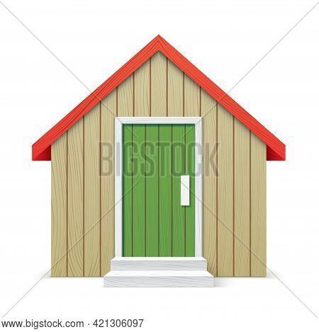 Vector Wooden Village House Isolated On Background
