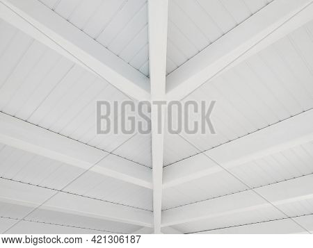 Perspective Of White Wooden Ceiling. White Beams On Caribbean Porch. Architecture, Construction And