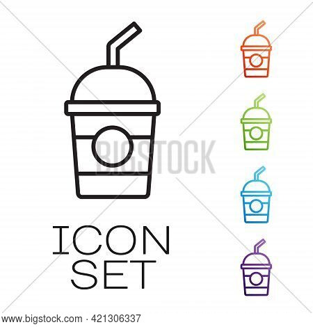 Black Line Milkshake Icon Isolated On White Background. Plastic Cup With Lid And Straw. Set Icons Co