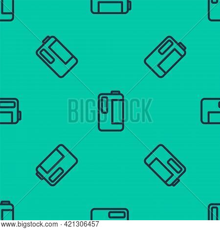 Blue Line Plastic Bottle With Handle For Milk Icon Isolated Seamless Pattern On Green Background. Ga