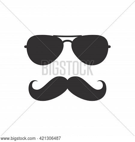 Man Mustache And Sunglasses Icon. Moustache And Glasses, Geek Or Hipster Style.