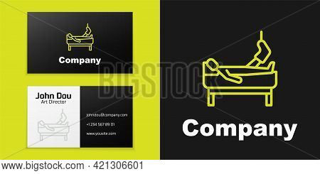 Logotype Line Patient With Broken Leg Is In The Hospital Icon Isolated On Black Background. Hospital