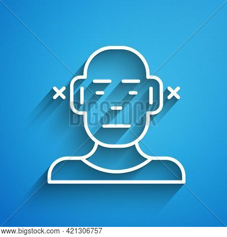 White Line Deafness Icon Isolated On Blue Background. Deaf Symbol. Hearing Impairment. Long Shadow.