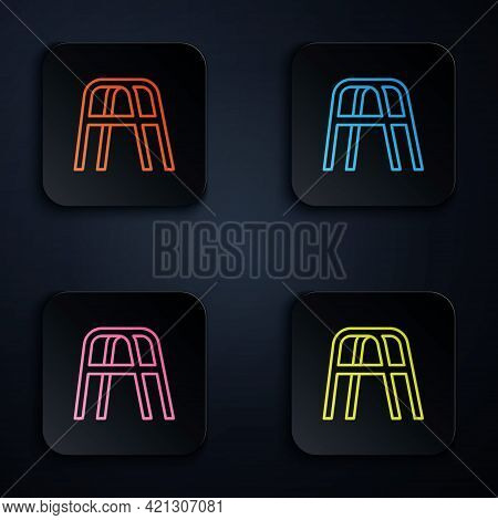 Color Neon Line Walker For Disabled Person Icon Isolated On Black Background. Set Icons In Square Bu