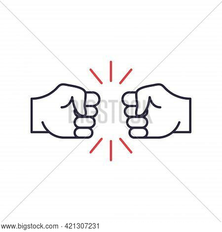 Two Hands Fist Bump Line Icon. Fists Punching As Greeting. Respect, Fight, Conflict And Handshake Co