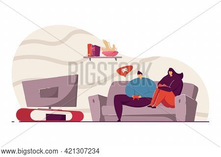 Young Man And Woman Playing Video Games Vector Illustration. Friends Or Couple Spending Time Togethe