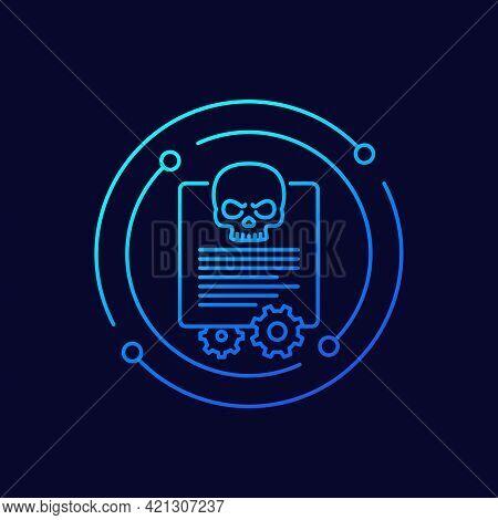 Malware And Cyber Attack Line Vector Icon