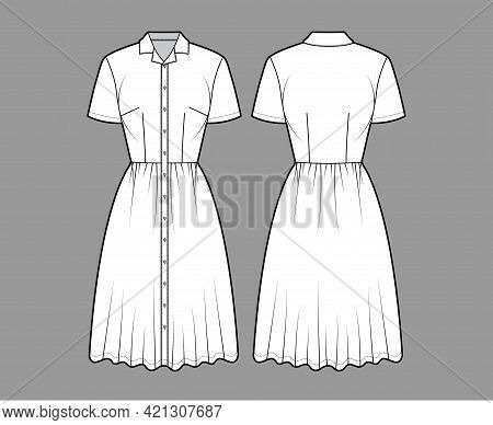 Dress Shirt Technical Fashion Illustration With Short Sleeves, Camp Collar, Fitted Body, Knee Length