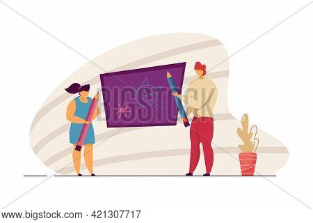 Woman And Girl Drawing On Blackboard. Mother And Daughter Doodling Funny Things Together. Cute Littl