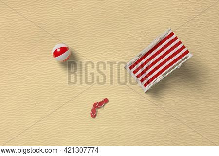 Top View Of A Deck Chair, A Ball And A Pair Of Flip Flops On The Beach. 3d Illustration.