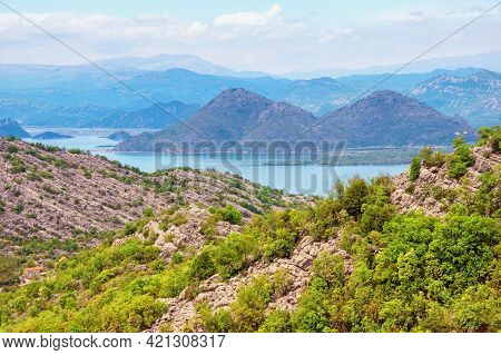Beautiful Mountain Landscape. Montenegro, National Park Lake Skadar. Coast Of Lake Skadar  On Spring