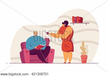 Woman Offering Tea To Man Vector Illustration. Old Man Reading Book. Young Caring Daughter Suggestin