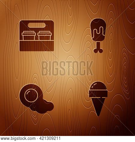 Set Ice Cream In Waffle Cone, Coffee Cup To Go, Scrambled Eggs And Chicken Leg On Wooden Background.