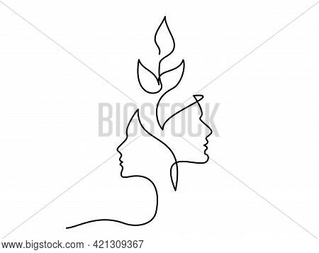Faces Man And Woman With Growing Plant One Line Drawing