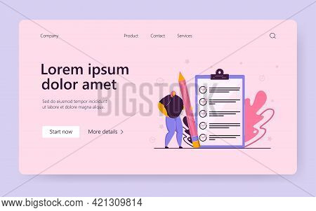 Tiny Woman Holding Pencil And Checking Completed Tasks On Clipboard Flat Vector Illustration. Cartoo