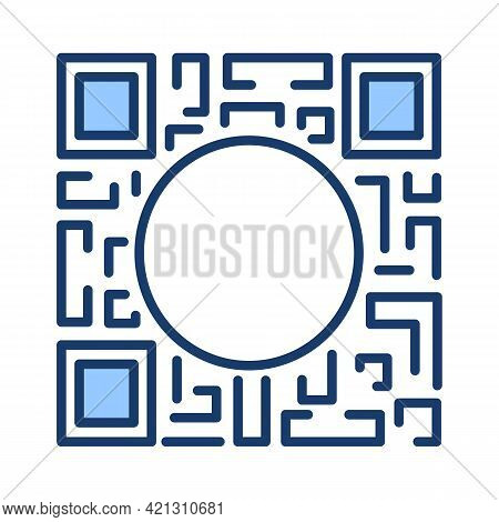 Qr Code Icon With An Empty Circular Space In The Middle. Vector Illustration Isolated With Editable