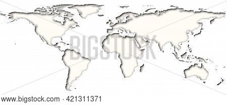 Layered Papercut World Map With Shadows, Black And White, Elements Of This Image Furnished By Nasa.