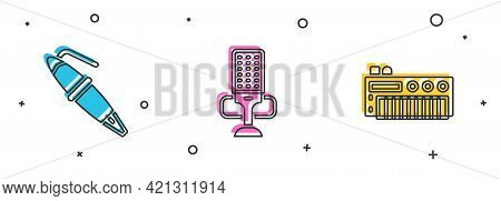 Set Fountain Pen Nib, Microphone And Music Synthesizer Icon. Vector