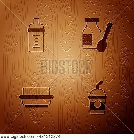 Set Milkshake, Baby Milk In Bottle, Butter Butter Dish And Drinking Yogurt On Wooden Background. Vec