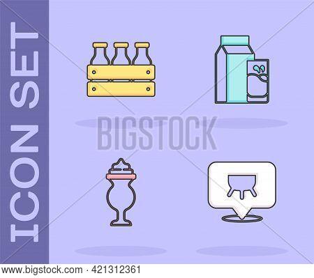 Set Udder, Bottled Milk In Wooden Box, Milkshake And Paper Package For Kefir Icon. Vector