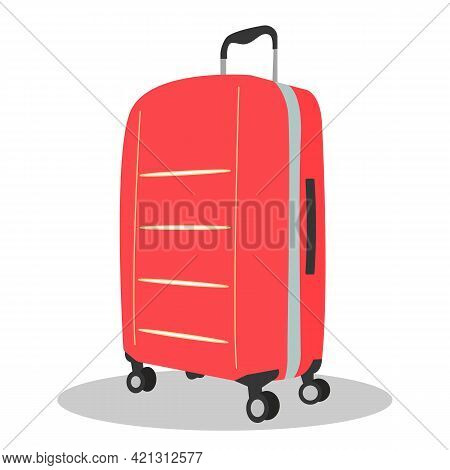 Red Modern Suitcase And Baggage Vector. Luggage Family In Vacation. One Big Baggage. Travel Flat Des