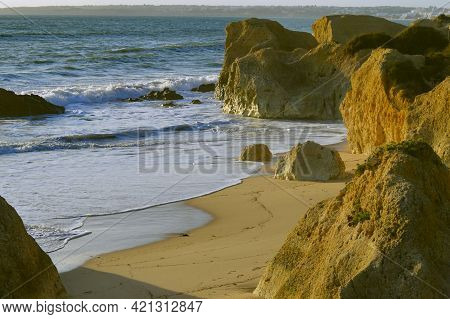 Spectacular Rock Formations On Sietskes Beach On The Algarve Coast